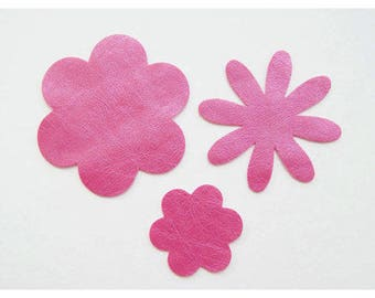 Set of 3 dark pink faux leather flower motifs