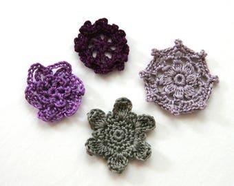 Set of 4 flowers crochet for customisation