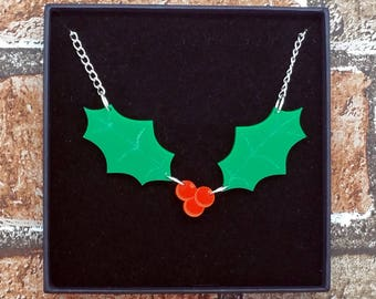 Christmas Holly and Berries Acrylic Necklace
