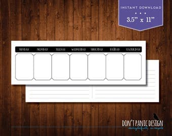 Weekly Appointment Planner Calendar - Art Deco Family Planner - Eternal Calendar - Instant Download