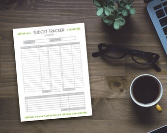 Printable Budget Tracker - Pretty Leaf Home Monthly Budget Sheet - Printable Planner Page - DIY Printable Home OrganzingInstant Download