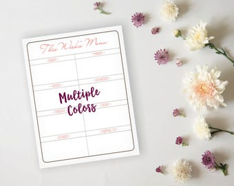 Printable Menu Planner - Simple Elegant Grid Dinner Menu Planner Sheet - Dinner Menu