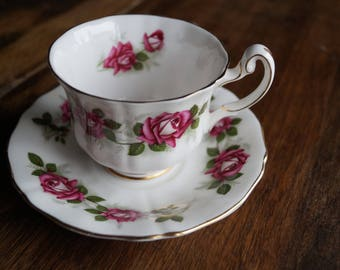 "Royal Adderley ""The Miss Canada Rose"", Vintage Teacup & Saucer, Created in honour of the Centenary 1867-1967"