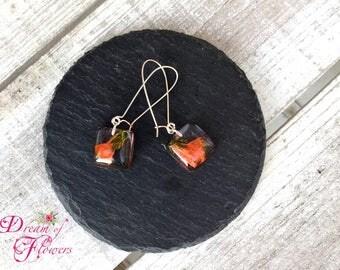 Earrings-orange flowers-resin/earrings-orange flower-true