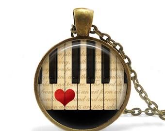 Piano Gifts Piano Keys Pendant Necklace Piano Keyboard Necklace Piano Teacher Gift Piano Keys Keychain Keyboard Pendant Keychain