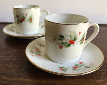 R.H. Macy & Co. Holly Espresso Cups and Saucers - Set of 4