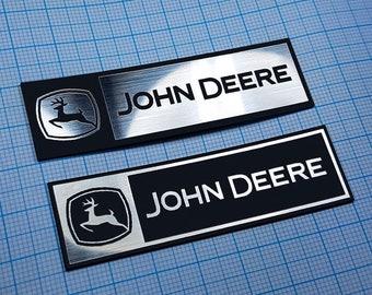 Two (2) x John Deere Tractor Metallic - Aluminium Stickers: 70 mm x 22 mm