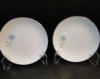 "TWO Noritake Simone Bread Plates 6407 White Blue Rose 6 3/8"" Set of 2 EXCELLENT!"