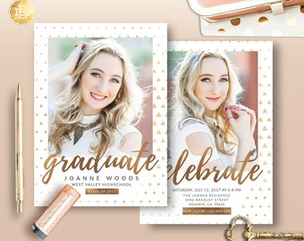 Senior Graduation Invitation Template, Senior Graduation Annoucement Card, High School Graduation Template Card - INSTANT DOWNLOAD - SG002
