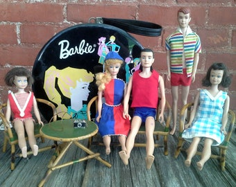 Vintage Barbies Lot, 1960s Barbie Ken Midge Allan Skipper, Round Ponytail Barbie Carrying Case, Doll Furniture, Barbie Clothes FREE SHIPPING