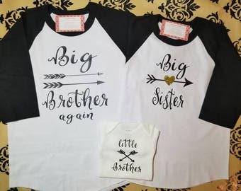 Raglan Big Brother and Big Sister Shirt Set, Sibling Shirt set of three, Arrow Big Brother and Sister Shirt Set, Sibling shirt set, New baby