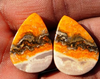 New year sale 27.45cts Bumblebee Pair natural Gemstone ,cabochon , smooth,  pear shape,   23x17x4mm size, AM130