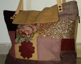 """TOTE BAG PATCHWORK AND LEATHER """"HIPPY CHIC"""""""