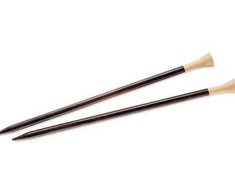 """Ebony Needles 12""""  Lantern Moon Straight Needle 7.5mm (US10 7/8), US15, US17, US19 Wood Knitting Needle Large Ebony Single Point Needle"""