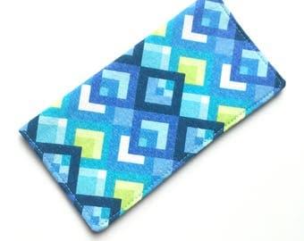 Checkbook cover, checkbook holder, wallet, receipt holder, aqua pattern
