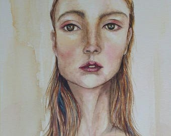 A4 Limited Edition Print of original watercolour painting 'Yellow girl'