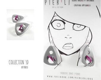Gray and purple earrings