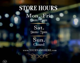 Store hours decals, business hours decals, restaurant hours decals, custom store hours decals, personalized store hours, store hours signs