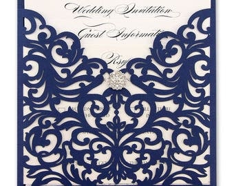 SAMPLE * Ruby Laser Cut Wedding Invitation with Diamante Cluster - Navy