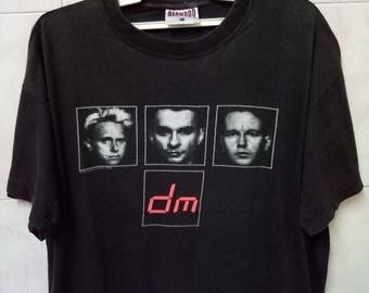 Vintage 90s DEPECHE MODE UK new wave band rare design promo tour 1998 Concert the singles Large size t-shirt