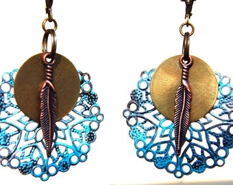 Tribal Earrings, Bohemian Earrings, Patina Earrings, Turquoise Earrings, Dangle Earrings, Boho Jewelry, Ethnic earrings, Hippie Gift for her