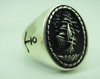 925 Sterling Silver Sailor Design Design Men Ring