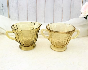 Vintage Federal Glass Madrid Amber Open Sugar Bowl 1930's ~ Recollection Creamer ~ Dated '76 ~ Both by Federal Glass