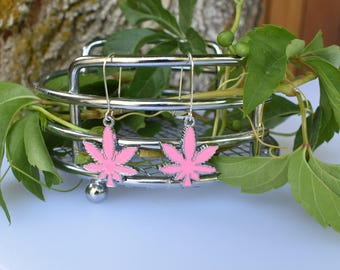 Enamel Pink & Silver Marijuana Leaf Earrings, Cannabis Lovers Jewelry, Cannabis Accessory, Cannabis Lovers Gift, Marijuana Leaf Jewelry