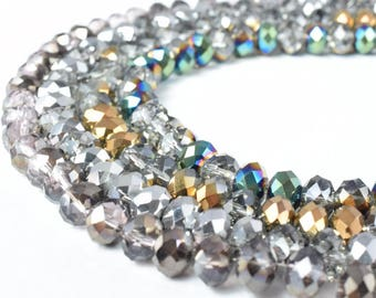 6x8mm Crystal Beads Rondelle Faceted Various Colored Crystal Beads/Opaque Rondelle Beads,Shaped Crystal/Beading/Jewelry making or Chandelier