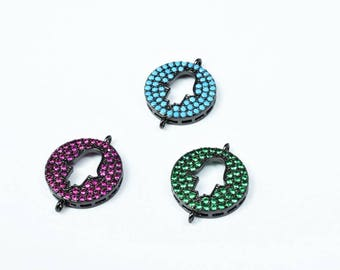 Hamsa Hand Micro Pave CZ Rhinestone Spacer Beads High Quality 3 Colors
