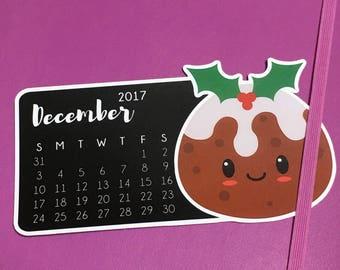 Cute Christmas Pudding - December die cut - calendar, page marker