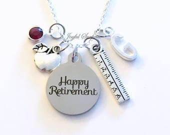 Teacher Retirement Gift, Necklace Principal Jewelry for School Secretary Assistant Personalized Initial Birthstone Happy Retirement women