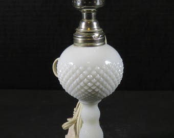"Vintage 9"" White Milk Glass Table Lamp Hob Nail Style Boudoir Bedroom Accent Lamp"