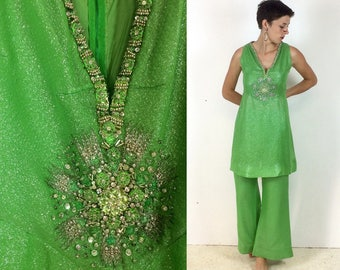 1970s Party two piece Tunic and Flared Trousers in Lime green Lame with Bejewled Detail
