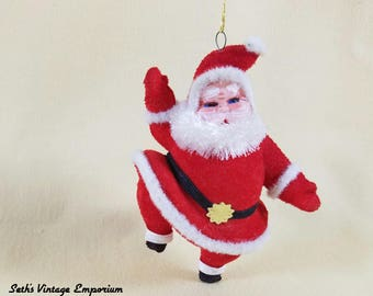 Flocked Santa Ornament ~ Christmas in July ~ Holiday Decor ~ Party Supplies ~ Tree Ornament ~ Mantel Decorations ~ Seths Vintage Emporium