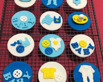 12x Edible Baby Shower cake toppers