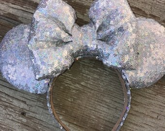 All silver holographic mouse ears