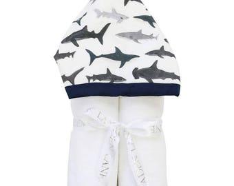 Shark Tooth | Full Size Toddler Hooded Towel | Navy Shark | Baby Shower Gift | Boy Shower Gift