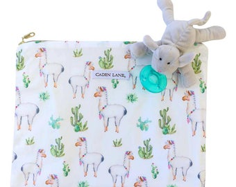 Not Your Mama's Llama Wet Bag  | White and Green Travel Bag | Cloth Diaper Zip Pouch | Southwestern Waterproof Bag