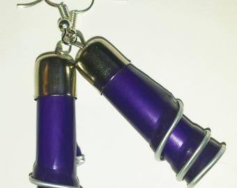"""Earrings capsule coffee """"?"""" recycled purple spirals"""