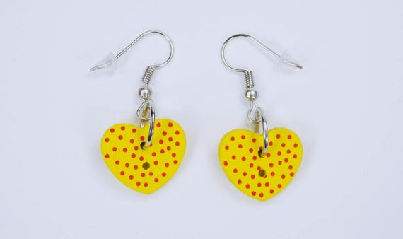 Earrings heart yellow with red dots on silver-colored earrings wooden pendant earrings Oktoberfest Party red Valentine's Day