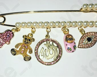 Stroller pin.  Stroller pins. Muslim baby gift.  Allah pin. Hamsa pin. Against evil eye. Pink stroller pin. Pearl pin.
