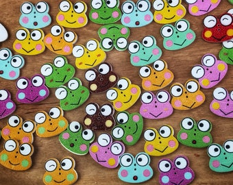 2 hole Cute wooden frog buttons, 20mm mixed buttons ,sewing, crafts, scrapbooks, 10 buttons per pack
