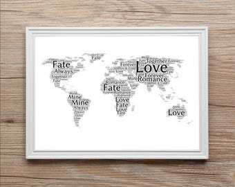 Personalised 1st Date Where We Met World Map of LOVE Word Art Print Engagement Any Uk CITY / TOWN Holiday Valentines Birthday Gift Christmas