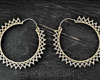 Silver Hoop Earrings, Gypsy Hoop Earrings, Ethnic Earrings, Boho Earrings, Indian Earrings, Tribal Earrings, Filigree Hoops, Indian Jewelry