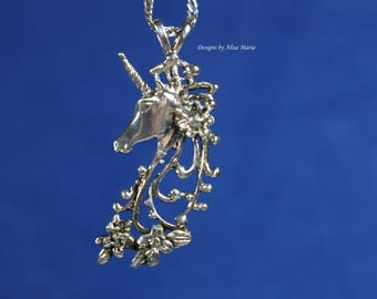Handmade 925 Sterling Silver Unicorn Pendant #18-50