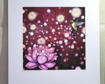 """Hummingbird print, 11""""x14"""" mat, batik/acrylic"""