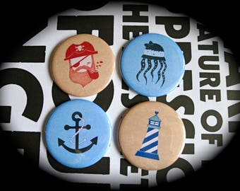 Set of 4 magnets 56 mms 'Sea'