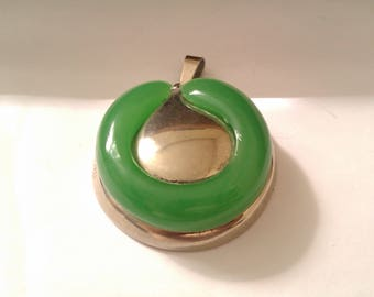 vintage modernist jade green and silver coloured pendant AUSTRIA