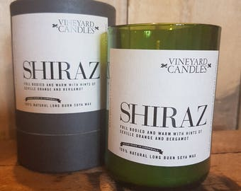 Shiraz Candle - Vineyard Candle - Alcohol Themed - Recycled Wine Bottles - Handmade- Large